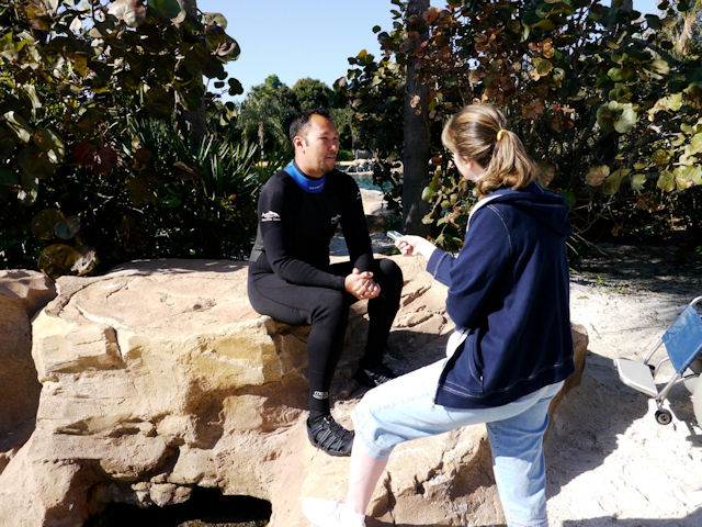 Interviewing Discovery Cove animal trainer